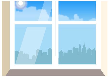 City skyline from closed window