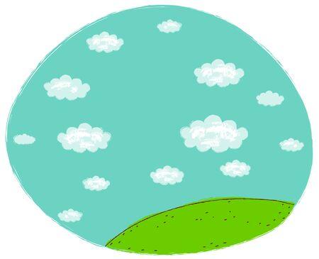 Green landscape with blue sky Illustration