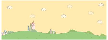green buildings: Buildings on green landscape Illustration