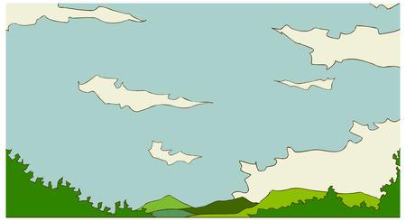 tranquillity: Sky and Green Landscape Illustration