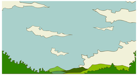 Sky and Green Landscape Illustration