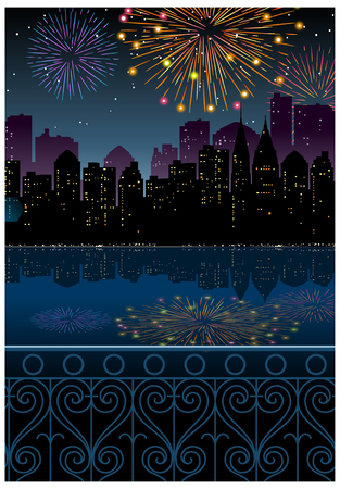 City Skyline and fireworks in sky
