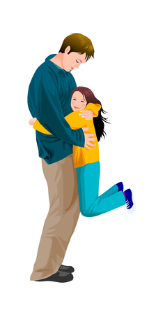 man looking out: Portrait of girl hugging father Illustration