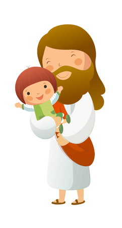 man looking out: Jesus Christ holding girl Illustration