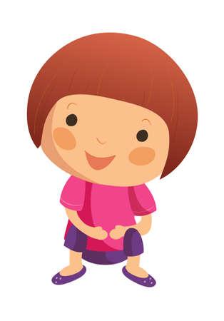 only baby girls: Portrait of happy girl Illustration