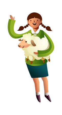 Portrait of girl holding sheep in hand Illustration