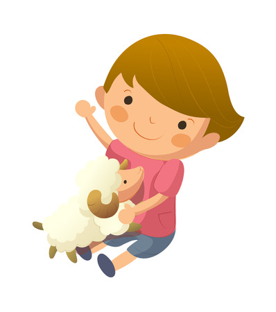 Portrait of boy holding sheep in lap
