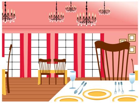 dinning: Dinning tables in room Illustration