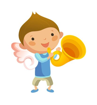 Boy with angel wings and holding trumpet Illustration