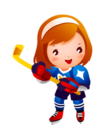 Girl ice hockey player Illustration