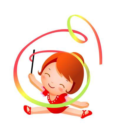 Girl practicing rhythmic gymnast performing with ribbon Illustration
