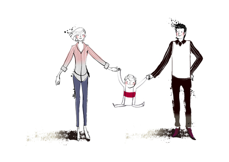 portrait of family holding  hand