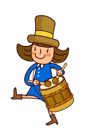Portrait of girl playing drum Illustration