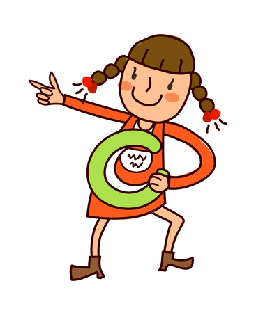 only baby girls: Portrait of girl holding alphabet c