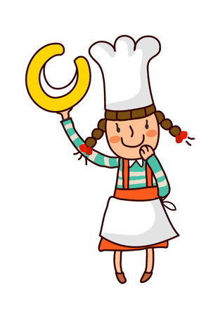 one girl only: Portrait of girl in chef uniform holding alphabet c
