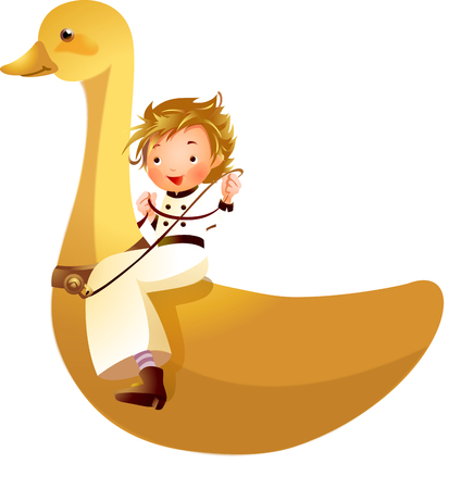 Girl riding on duck