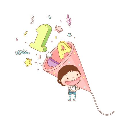 Portrait of boy holding birthday package Illustration