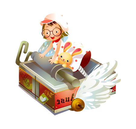 Girl flying on a box with a rabbit Illustration