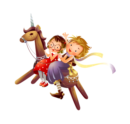 Profile of two girls riding a wooden unicorn Illustration