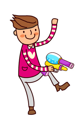 Portrait of Boy holding water spray Illustration