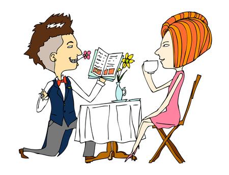 portrait of couple in caf Illustration