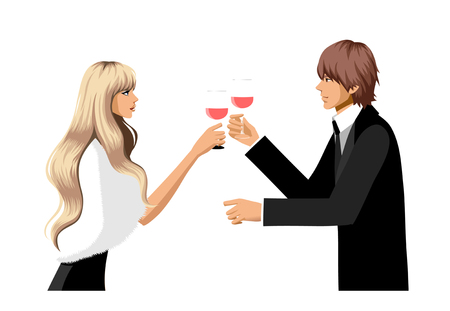 Elegant couple holding wineglass Illustration