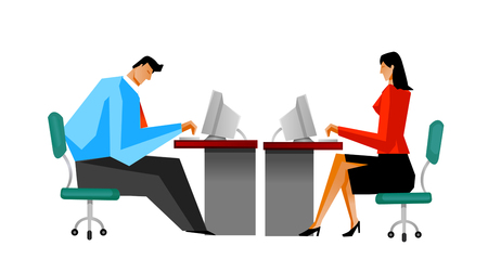 Businessman and Businesswoman using computer Illustration