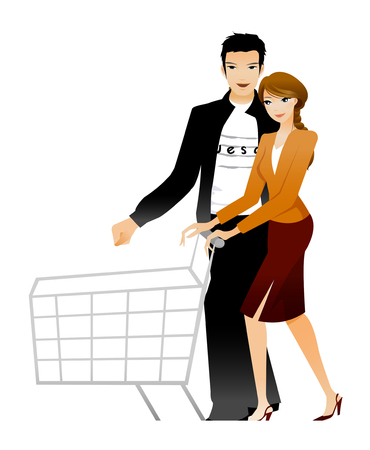 man looking out: Couple holding shopping cart