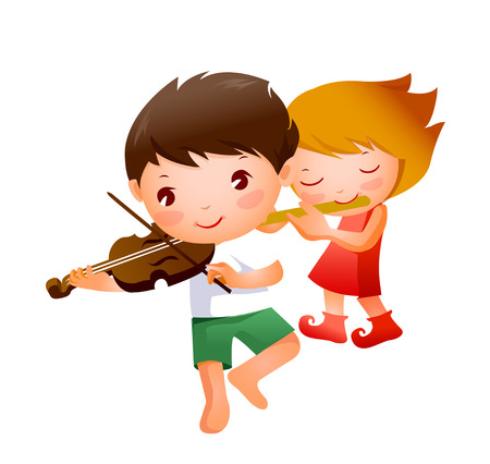 man looking out: Boy and Girl playing musical instrument Illustration