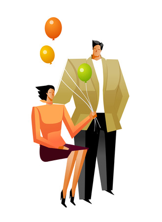 Businessman and Businesswoman holding balloon