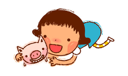 only baby girls: portrait of Girl holding pig Illustration