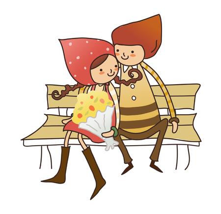 Boy and Girl sitting on bench Illustration