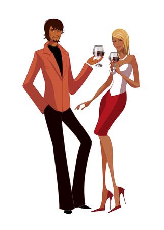 Elegant couple holding wineglass Illustration
