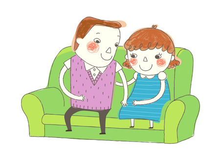 only baby girls: Boy and Girl sitting on sofa