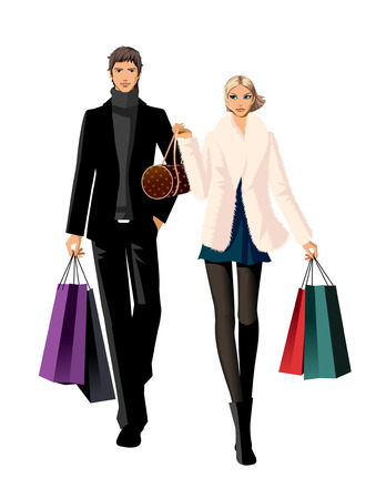 Couple with shopping bags Illustration