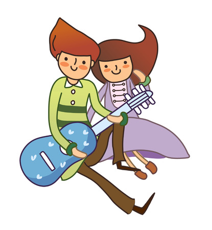 man looking out: Boy and Girl playing guitar Illustration