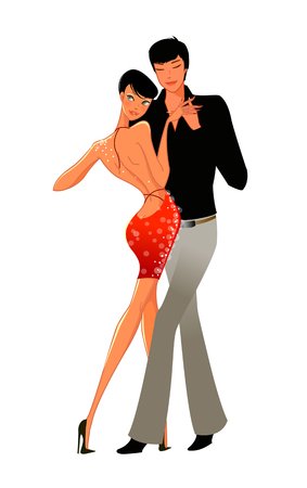 eyes are closed: Elegant couple dancing Illustration