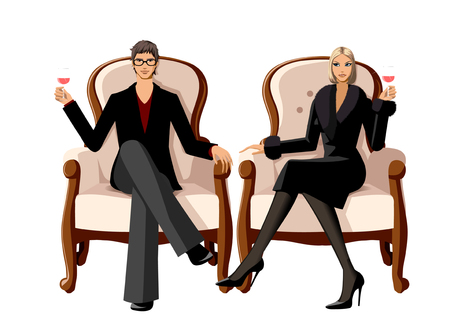 Elegant couple holding wineglass sitting on arm chair Illustration
