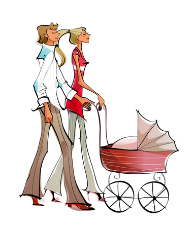 Side profile of a couple pushing a baby carriage