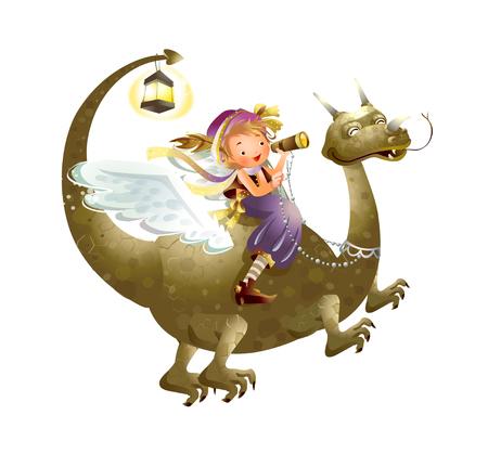 looking through an object: Girl riding a dinosaur