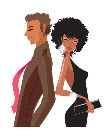 man looking out: Portrait of Couple in party wear Illustration