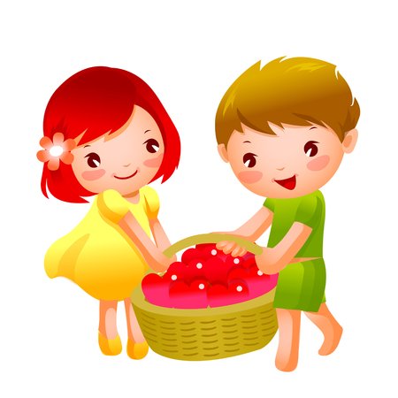 man looking out: Girl and Boy carrying heart shape fruits in a basket