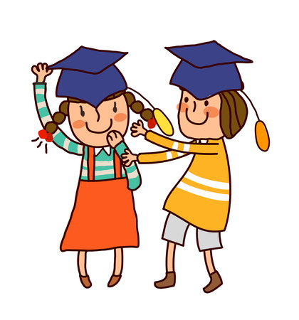 Portrait of Boy and Girl wearing graduation cap Illustration
