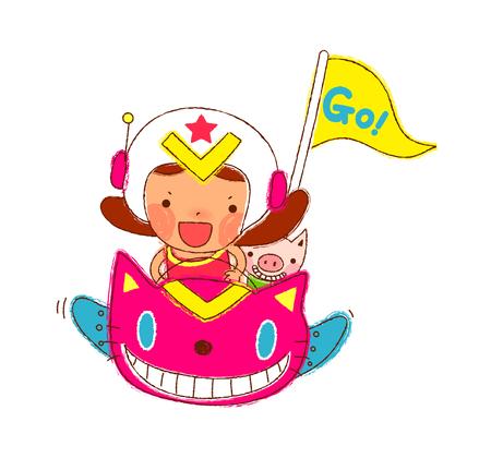 Portrait of Girl driving sport car Illustration