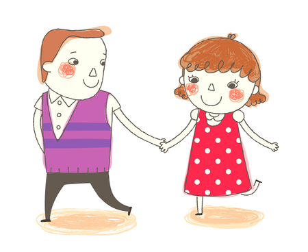 only baby girls: Boy and Girl holding hand Illustration