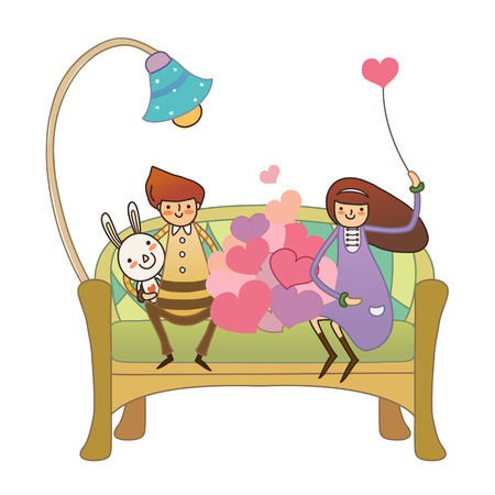 Boy and Girl sitting on sofa holding bunny and balloon Illustration