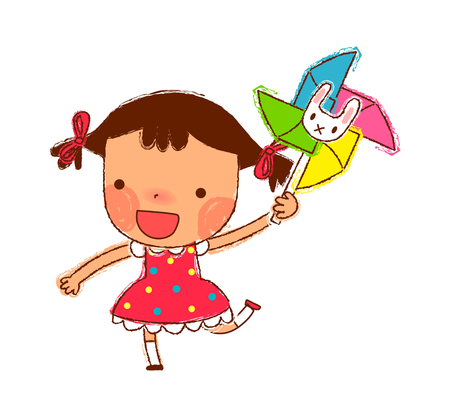 Portrait of Girl holding Pinwheel Illustration