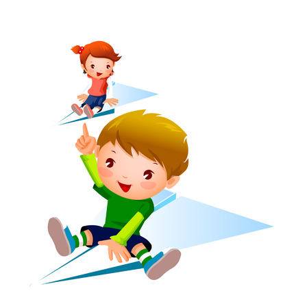 man looking out: Boy and Girl flying on paper plane Illustration
