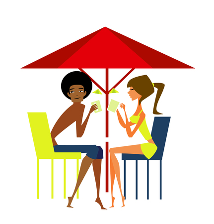 Man and woman enjoying vacation at beach Illustration