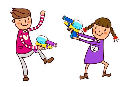 Portrait of Boy and Girl holding watergun Illustration